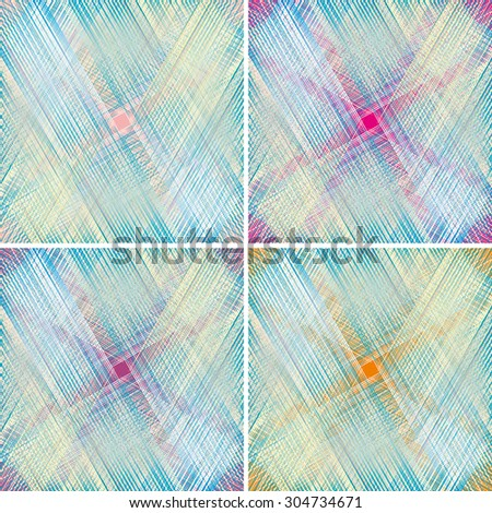set of fabric texture. weave colorful threads in pastel colors  - stock vector