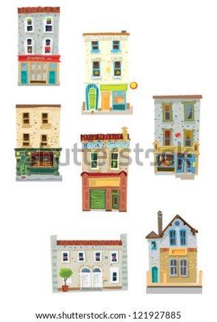 set of facades - Dublin - cartoon - stock vector