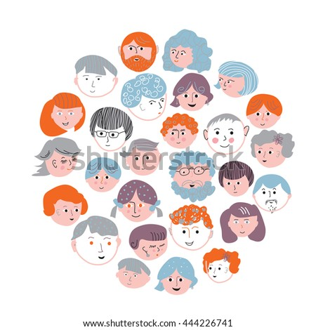Set of faces cartoons card.Vector graphic illustration