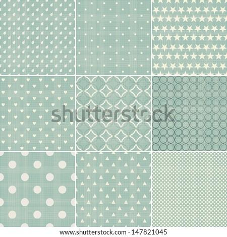 set of faded blue retro polka dot seamless patterns - stock vector