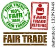 Set of Fair Trade grunge rubber stamps on white, vector illustration - stock vector