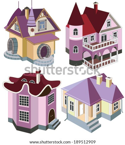 set of fairy houses (vector illustration) - stock vector
