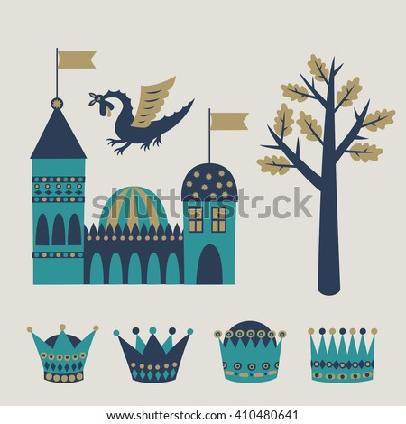Set of fairy tale graphic vector elements. Castle, dragon, royal crowns, magic tree. Vector illustration.