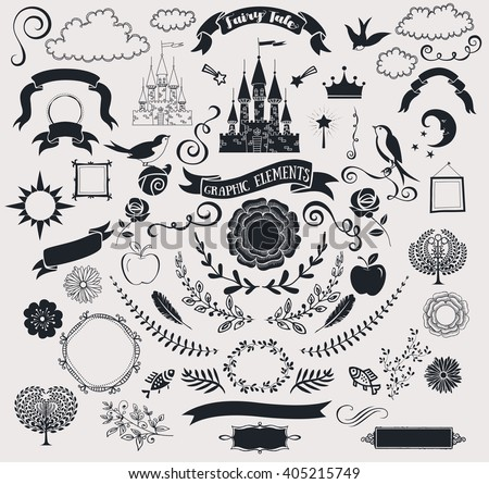 Set of Fairy Tale Graphic Vector Elements - Crisp black clip art, including castle, banners, frames, roses, clouds, birds, branches, flowers, swirls and fun shapes; hand drawn