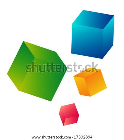 set of falling cubes - stock vector