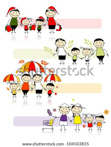 Set of family illustrations, four seasons - stock vector