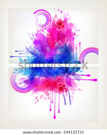 Set of fantasy flowers. Design brochure template with floral elements - stock vector