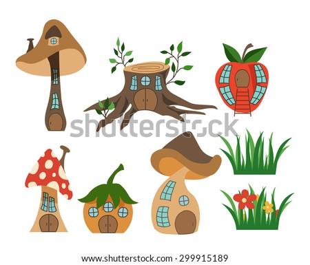 Set of fantasy houses. Vector illustration - stock vector