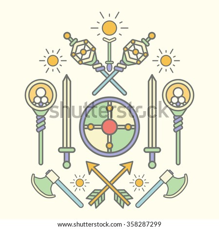 Set of fantasy medieval weapon in form of coat of arms. Vector illustration. - stock vector