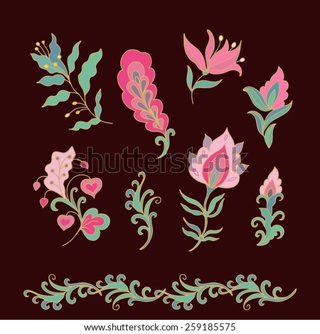 Set of fantasy vector  flowers - stock vector