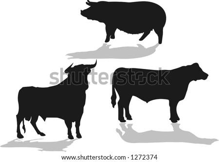set of farm animals, bull, cow, pig, vector illustrations - stock vector