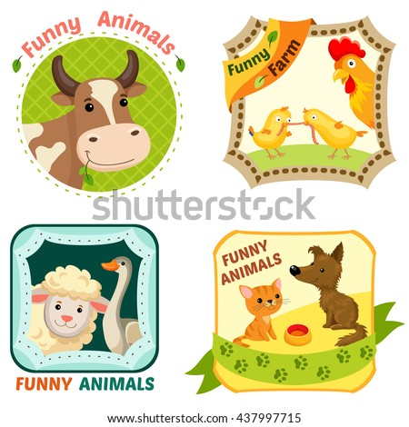 Set of Farm animals character emblems, bright illustration.