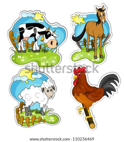 set of farm animals on nature isolated on white background: cow, horse, sheep and rooster. vector illustration. - stock vector