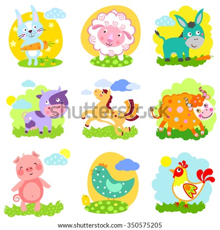 Set of farm animals: rabbit, sheep, donkey, cow, horse, bull, yak, buffalo, pig, piggy, chicken, rooster
