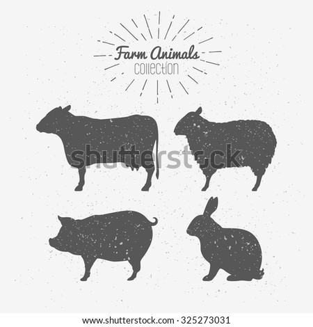 Set of farm animals silhouettes. Beef, lamb, pork, rabbit meat. Butcher shop design template for craft meat packaging or food restaurant. Sunburst rays label template. Vector illustration - stock vector