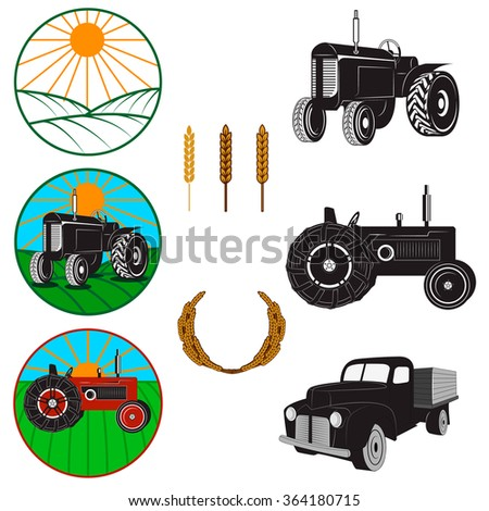 Set of farm fresh labels and design elements. Farmers market. Tractors. Farmers Truck. Design elements in vector. - stock vector