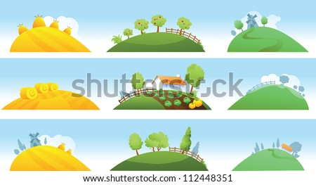 set of farm landscapes - stock vector