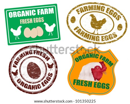 Set of farming eggs labels and grunge rubber stamps, vector illustration