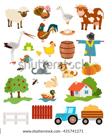 set of farming live animals, birds, objects, farmhouse, tress, scarecrow, pumpkins and tractor. vector illustration - stock vector