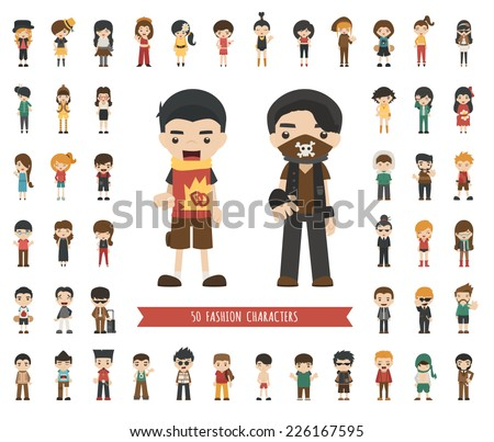 Set of fashion character , eps10 vector format - stock vector