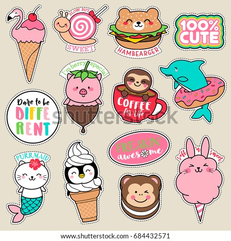 Set of fashion girl patches, cute colorful badges, fun cartoon animal shaped foods vector