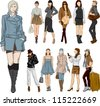 Set of fashion girls - stock photo
