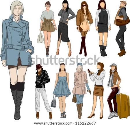 Set of fashion girls - stock vector