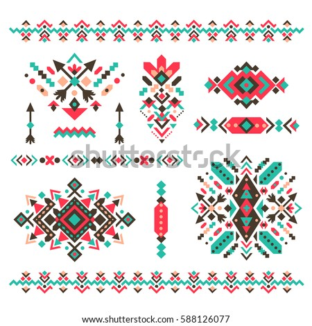 set of fashion mexican navajo or aztec native american patterns geometric ethnic decoration - Mexican Frame