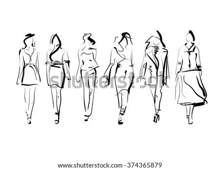 Set of fashion models sketch isolated, vector illustration - stock vector