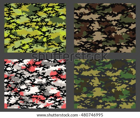 Set of fashionable camouflage pattern. Vector illustration.Millatry print .Seamless vector wallpaper