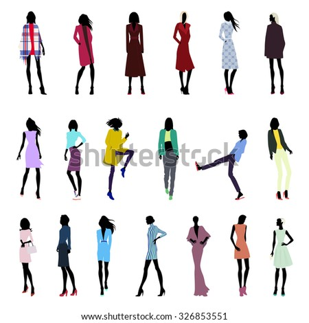 Set of fashionable female silhouettes in clothes