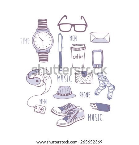 Set of fashionable men's accessories. vector illustration backdrop Vector template for design. - stock vector