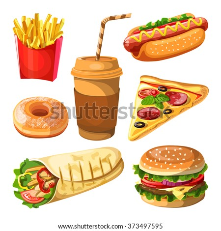 set of fast food and beverages icons. vector illustration