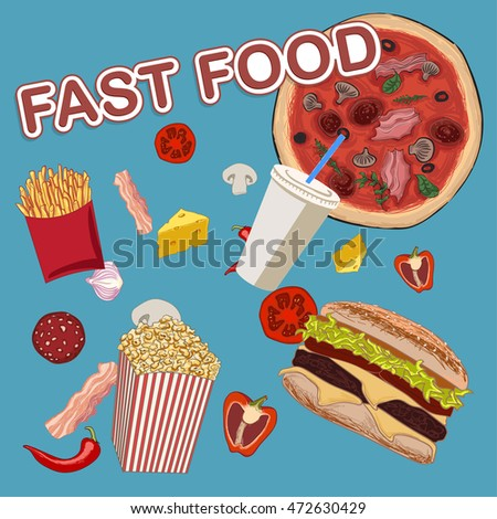 set of fast food and pieces of vegetables