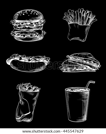 Set of fast food elements, hand drawn graphic icons French fries, sandwich, hamburger, Hot Dog and soda drink for menu the restaurant, cafe, bistro or snack bar, vector white on black, inversion - stock vector
