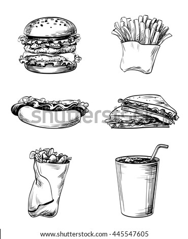 Set of fast food elements, hand drawn graphic lines and strokes icons French fries, sandwich, hamburger, Hot Dog and soda drink for menu the restaurant, cafe, bistro or snack bar, vector isolated