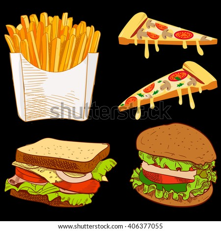 Set of fast food hand drawn VECTOR illustration on black background. Fries, pizza slices, sandwich, burger.