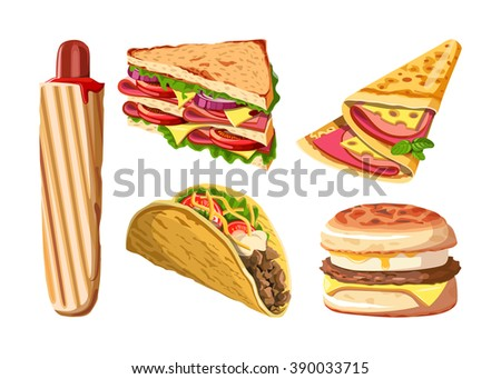 Set of fast food: hotdog, club sandwich, Taco, Pancake, muffin with egg. Vector illustration, isolated on white. - stock vector