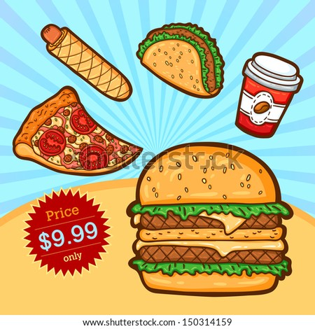 Set of fast food. Isolated objects in cartoon style. Poster template.