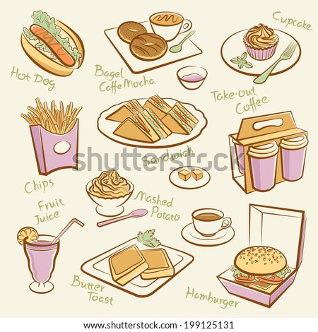 Set of fast food. Line drawing of morning tea. - stock vector