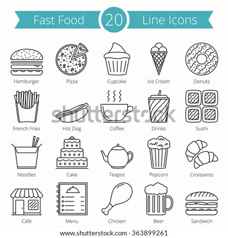 Set of 20 fast food line icons, vector eps10 illustration