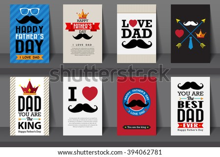 Set of Father's day brochures in vintage style .Vector eps10 - stock vector
