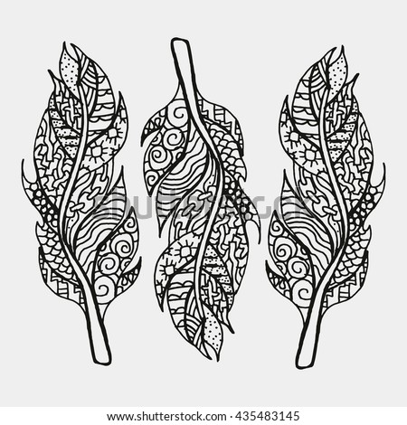 Set Of Feathers Isoltaed On White Background. Pattern For Adult Coloring Book. Hand Drawn, Ethnic, Retro, Doodle, Zentangle Design Elements. Made By Trace From Sketch. Vector Illustration