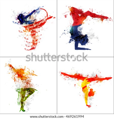 set female athletes four different pose stock vector