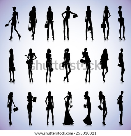 Set of female black silhouettes with handbags - stock vector