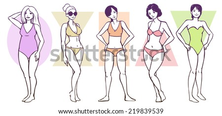 Set of Female Body Shape Types  - Apple / Rounded, Hourglass, Rectangle, Triangle / Pear, Inverted Triangle - stock vector