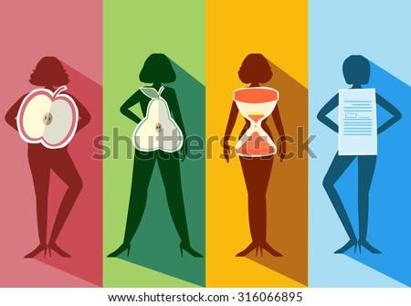 Set of female body shape Types,vector illustrations - stock vector