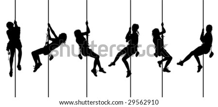Set of female climber - vector - stock vector