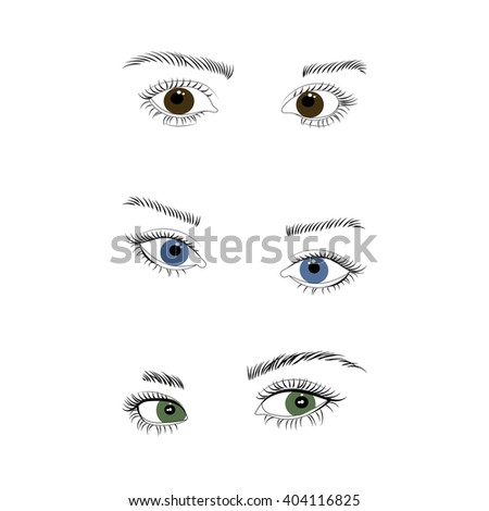 Set of female eyes and brows vector illustration. Blue, green and brown colors. Open woman eyes.