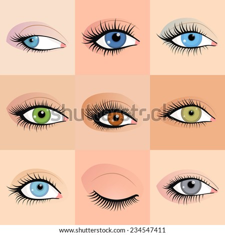 Set of female eyes images with beautifully fashion make up. Vector illustration for health glamour design. Blue, green and brown colors. Close and open woman eyes. - stock vector